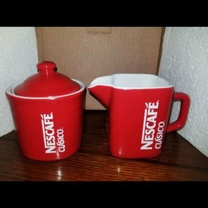 NEW Set NESCAFE Red COFFEE Creamer, Sugar Canister